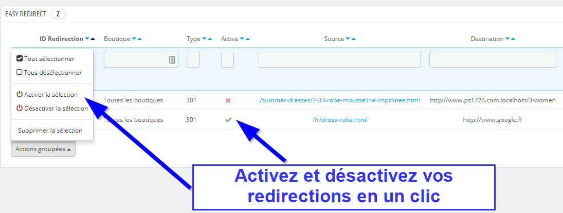 activez vos redirections en un clic