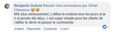 Commentaire depuis Facebook sur mon module de devis.