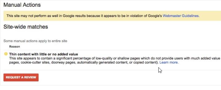 Pénalité Google pour contenu faible